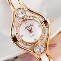 Relógio Feminino Banhado A Ouro Rosê Com Zirconia