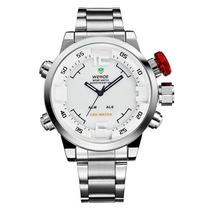 Relógio Led Digital Analógico Aço Inox Weide Wh2309 Original