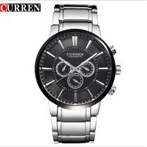 Relógio Masculino Grande Curren Aço Inoxidável Luxo Sport