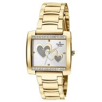 Relógio Feminino Champion Dourado Quadrado Ch24357h Original