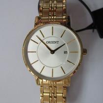 Relógio Pulso Orient Feminino Folhado A Ouro Novo Fgss1105