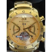 Relógio Bulgari Iron Man Automático Dourado Fundo Dourado