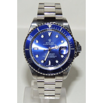 Relogio Masculino Azul Bezel 40mm Submariner Data Lupa