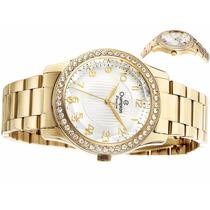 Relógio Feminino Champion Dourado Wr 50m Cn27205h Crystal