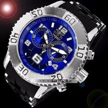 Relógio Suíço Invicta Sea Spider Prata Preto Azul Cronógrafo