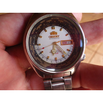 Patacão Relógio Orient Wd 3 Cabeças Hora Mundial Automatico