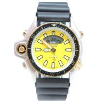 Relógio Masculino Citzem Aqualand Prata E Amarelo Jp2004