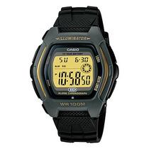 Relógio Casio Hdd 600 Preto/ouro Hora Dupla Resist 100mts