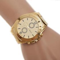 Relógio Masculino Ostentação Grande Folheado A Ouro Barato