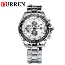 Relógio Curren 8083 Branco/prata Novo Barato Frete Grátis