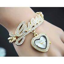 Linda Pulseira Relógio Dourado Feminino Da Guess Luxo Strass