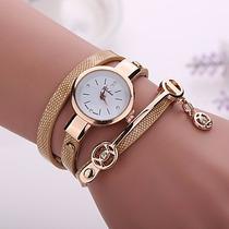 Relógio Feminino Pulseira De Couro C/ Lindo Pingente Dourado