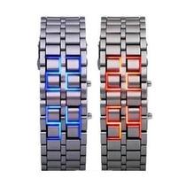 Relógio Led Iron Samurai Pulseira Cromado Aço Inoxidável