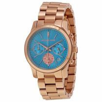 Relógio Michael Kors Mk6164 Rose E Azul Lindo Caixa E Manual