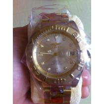 Relógio Invicta Chapado Todo Em Ouro 18k