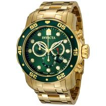 Relógio Invicta Scuba 0075 Verde Banhado Ouro 18k Com Caixa