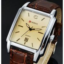 Relógio Elegante Quadrado Masculino Curren Marrom Couro