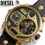 Relogio Diesel Dz7323 Dourado Pulseira Preta 57mm De Caixa