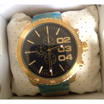 Relógio Diesel Dourado Fundo Preto Completo Sedex Grátis