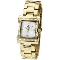 Relógio Feminino Ana Hickmann Dourado Quadrado Ah28179h