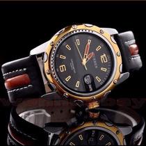 Relógio Importado Pulseira Em Couro Curren Original De Luxo