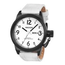 Relógio Magnum Masculino, Pulseira De Couro, 10 Atm Ma33415b