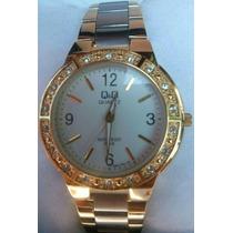 Relógio Dourado Original Q&q Excelente Qualidade