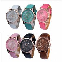 Relógio Caixa Dourada Feminino M/ Geneva Novo Pct C/ 10 Unds