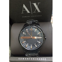 Relogio Armani Exchange Preto Dourado Garantia 12x S/juros