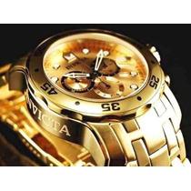 Lindo Relógio Invicta Pro Diver Scuba 0074 -banhado Ouro 18k