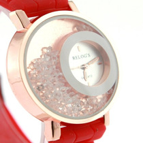 Relógio Feminino Com Bonito Designe (foto Do Exemplo Em Verm