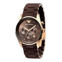 Relógio Emporio Armani Ar5890 Marrom E Rosé Original