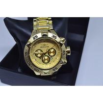 Relógio Masculino Dourado Pulseira De Aço Estilo Invicta