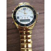Relógio Masculino Aço Inox Excelente Dourado Com Digital