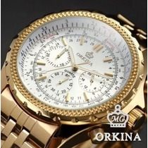 Relógio Okina Branco Original Dourado Folheado Ouro 18k-...