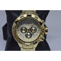 Relógio Masculino Dourado Grande Estilo Modelo Invicta