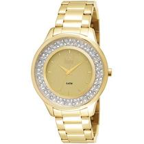 Relógio Dumont Feminino Dourado Com Pedras Du2035lmm/4x Luxo