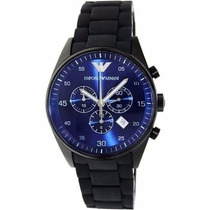 Relógio Emporio Armani Ar5921 Preto C/ Azul E Pulseira Azul