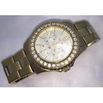 Relógio Feminino Guess Folheado A Ouro E Cristais Swarovski