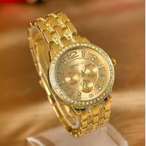 Relógio Feminino Pulseira De Aço Dourado Rose Prateado