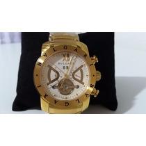 Relógio Masculino Iron Man Automático Dourado Fundo Branco