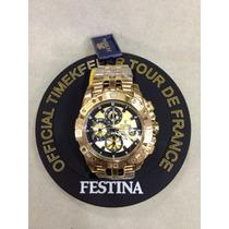 Relógio Festina Dourado Original+caixa Original Frete Gratis