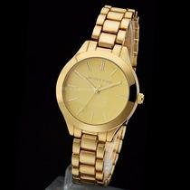 Relógio Feminino Estilo Michael Kors Aço Dourado Luxo