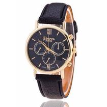 Relógio Luxo Dourado Com Pulseira De Couro