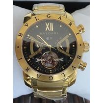 Relógio Bulgari Iron Man Dourado Automático, Até 12x + Frete