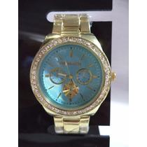 Relógio Feminino Mk Dourado C/ Strass Visor Azul D