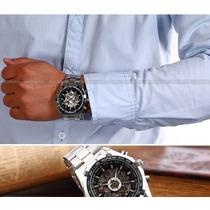 Relógio Esqueleto Automático Winner Pulseira Aço Importação