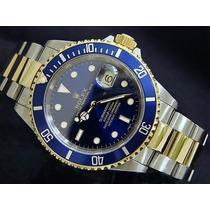Relogio Submariner Azul Pulseira Mista Sedex Gratis Garantia