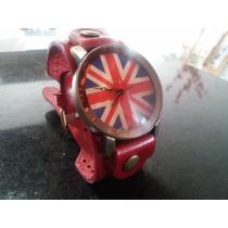 Relógio Bracelete De Couro Inglaterra. Frete Grátis.