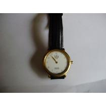 Relógio Dumont Caixa Dourada Pulseira De Couro Preto